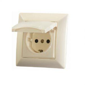 کلید و پریز ایران الکتریک مدل درب دار - مناسب برای نصب در آشپزخانه و حیاط